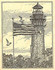 Currituck Beach Lighthouse Wood Mounted Rubber Stamp Impression Obsession H1906