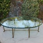Labarge Brass/Glass-top Hollywood Regency Oval Hoof Foot Coffee Table Vintage