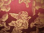 VINTAGE FOOT STOOL BURGANDY SILK WITH ANGELS - HAIRPIN LEGS-SCROLL DESIGN