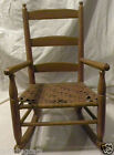 Primitive Child's Rocking Chair Wooden Wood Woven Seat Antique Vintage