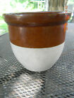 Vintage Salt Glazed Stoneware Butter Crock-Tan & White-Roseville, Ohio-FREE SHIP