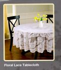 WHITE FLORAL LACE TABLECLOTH ~  70