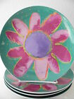DEPARTMENT 56 SET OF 4 FLOWER SALAD DESSERT PLATES PINK FLORAL PURPLE CENTER FUN