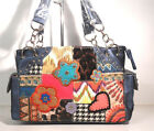 PATCHWORK HIPPY FLOWER HEART STAR BLING RHINESTONE TAPESTRY WESTERN PURSE BLUE