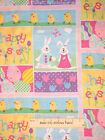 Easter Bunny Egg Chick Happy Easter Rabbit Pastel Pink Blue Purple Fabric 1.6 Yd