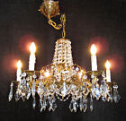 c1910 Antique French Crystal Chandelier Art Nouveau Gilt Brass Waterfall Top