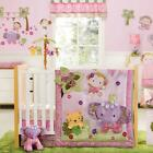 Jungle Monkey, Elephant & Tiger Baby Girls Nursery Floral 4 Pc Crib Bedding Set