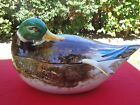 Multi Color Vintage Hand Painted Ceramic 3pc Mallard Duck Tureen Made in Italy