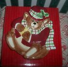 Fitz and Floyd Bear Canape Plate 2001 Snack Therapy Brown Bear Plaid Scarf NIB