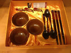 YUNHONG Wood Sushi Serving Set & Dipping Bowls Chopsticks for 3 New!