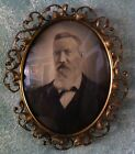 Lg Victorian Style Ornate Metal Oval Picture Frame Dome Glass Convex 17