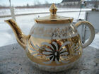 Vintage Gibsons Teapot England Staffordshire White Gold Floral Flower