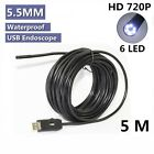 Mini 5.5mm HD 720p Borescope USB Endoscope 6LED Inspection Camera with 5M Cable