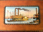 RARE Vintage J & J Cash Ltd Robert E. Lee Steamboat Wood Box w Jacquard Insert