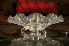 Antique Depression Glass Ruffled SWIRL Centerpiece Footed Console Bowl 3 Toed