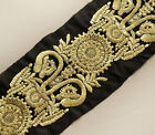 Large Flowers Sewing Trim. Embroidered Ribbon. Shades of Gold on Black. 3 Yards
