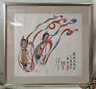 Gorgeous Matted Oriental Art w/ Vintage Style Silver Frame- 32x34