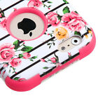 For iPhone 6 (4.7 inch) - HARD & SOFT RUBBER HYBRID ARMOR CASE PINK ROSE FLOWERS
