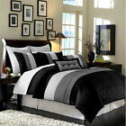 Luxury Stripe Bedding 8 Piece Comforter Set 3 Colors,King Queen Full Reversible