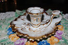 Antique Ornate Gold White Leaf Shaped Porcelain Candle Chamberstick W/Handle