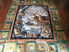 HANDMADE NEW LOG CABIN HUNTING WHITE TAIL DEER QUILT TOP/CAMOUFLAGE COLORS