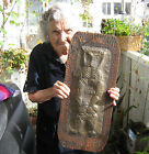 ✿ Kuker with bells chase evil  - OLD copper / wood  WALL plaque  art - total 23