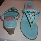 LILLY PULITZER Lamb Leather SHOES Kitten Heels Jeweled SANDALS Thongs Slides EXC