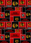 NHL CHICAGO BLACKHAWKS  PATCH 100% COTTON FABRIC BY THE 1/2 YARD