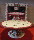 Fitz & Floyd Deck the Halls Footed Cake Stand in Original Box