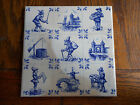 Vintage Blue Hand Painted 6x6 Tile-9 COUNTRY IMAGES-Made in Holland