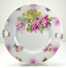 Antique Cottage Chic Porcelain Handled PINK ROSES Cake Plate - Transferware