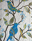 4pc Earth Angel BIRD of PARADISE Teal Yellow FULL QUEEN QUILT SET + PILLOW