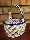 VINTAGE REEL HAND PAINTED CERMIC PORCELAIN POTTERY WEAVE BASKET PORTUGAL 4060E