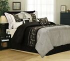 Black Grey White Comforter Set 7-piece Bed in a Bag King Size