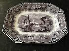 ANTIQUE FLOW MULBERRY J CLEMENTSON UDINA PLATTER TRANSFERWARE IRONSTONE