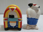 Figural Ceramic Cool Dog and Jukebox Salt and Pepper Shakers Certint