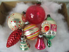 Vintage Christmas Tree Ornaments Red Silver Assorted Pinecone 6 Mercury Glass