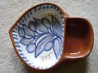 Glazed stoneware olive oil dipping dish italy handmade terracotta signed on back