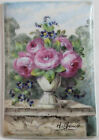 Antique French Hand Painted Floral Porcelain Tile Plaque Signed by H.Gaud