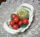Vintage Capodimonte Basket w/Cherries, & Pretty Green Apple - L@@K