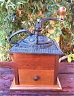 VINTAGE HAND CRANK COFFEE GRINDER BEAN MILL CAST IRON & WOOD with DRAWER NoResrv