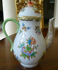 Herend Porcelain Coffee Pot in the Queen Victoria Pattern with Rose Finial