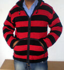 Clearance SALE ! Wool Fleece Red Black Striped Hood Sherpa Jumper Zip Cardigan