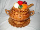 Vintage California Pottery 4 Piece Soup Tureen W/Lid, Spoon, Under Plate ~1960's