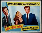 MURDER, MY SWEET DICK POWELL CLAIRE TREVOR FILM NOIR 1944 PORTRAIT LOBBY CARD