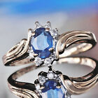 VINTAGE MAGIC GLO 14kt YELLOW GOLD 0.80ct SAPPHIRE & DIAMOND sz:6.25 RING  2.4g