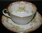 LOT OF 2 NORITAKE JAPAN FINE CHINA CUPS AND SAUCERS FLORAL W/RED AND GOLD SWAGS