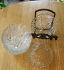 LSSL A Set of 6 Depression Clear Pressed Glass Footed  Swirl & Bead Bowls Burple