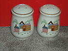 1986 NEWCOR Stoneware OUR COUNTRY SALT & PEPPER SHAKERS Set Farmhouse Animals