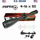 SNIPER 4 16X50 Rifle Scope w Rings Caps Sunshade RGB Mil Dot Free ship from US